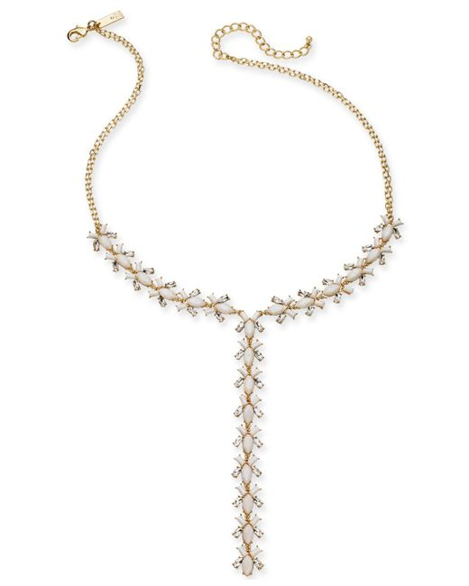 """INC International Concepts - Metallic I.n.c. Gold-tone Crystal & Stone Lariat Necklace, 20"""" + 3"""" Extender, Created For Macy's - Lyst"""