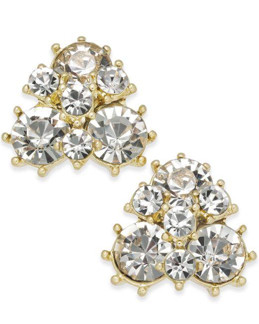 Charter Club - Metallic Gold-tone Crystal Cluster Stud Earrings - Lyst