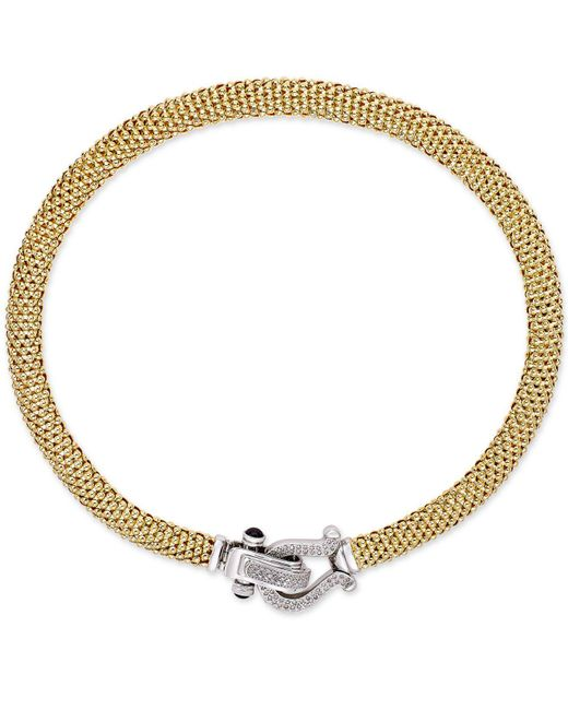 Macy's - Metallic Diamond Horseshoe Clasp Mesh Necklace (5/8 Ct. T.w.) In 14k Gold-plated Sterling Silver - Lyst
