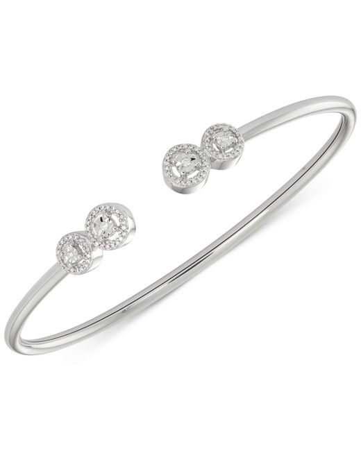 Wrapped in Love   White Diamond Cluster Bangle Bracelet (1/6 Ct. T.w.) In Sterling Silver   Lyst