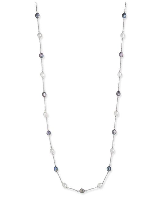 Macy's | Metallic Cultured Black And White Freshwater Baroque Pearl (8mm) Necklace In Sterling Silver | Lyst