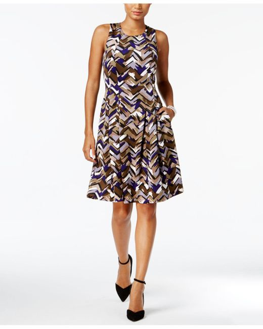 Nine West | Multicolor Printed Scuba Fit & Flare Dress | Lyst