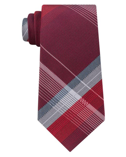 Kenneth Cole Reaction   Red Men's Open Ground Plaid Silk Tie for Men   Lyst