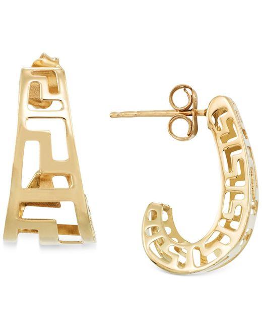 Macy's | Gray Greek Key J-hoop Earrings In 14k Gold | Lyst