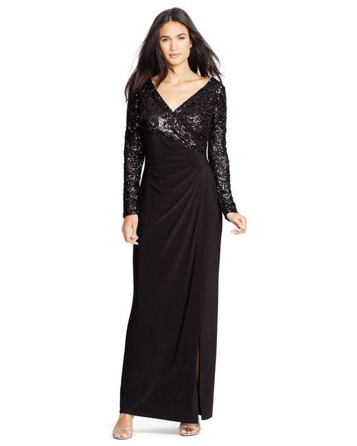 Snap Lauren by ralph lauren Oleanne Long Sleeve Sequin Gown in Black ...