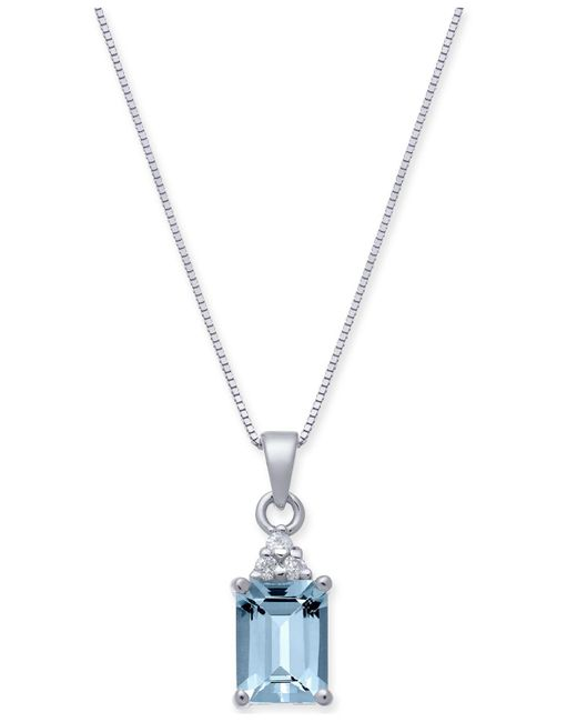 "Macy's - Metallic Aquamarine (1-5/8 Ct. T.w.) & Diamond Accent 18"" Pendant Necklace In 14k White Gold - Lyst"