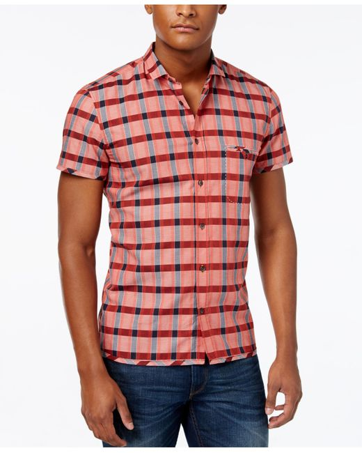 Boss Orange Men 39 S Esushie Check Short Sleeve Shirt In