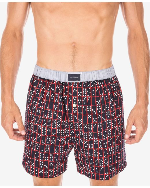 tommy hilfiger woven boxer shorts in red for men lyst. Black Bedroom Furniture Sets. Home Design Ideas