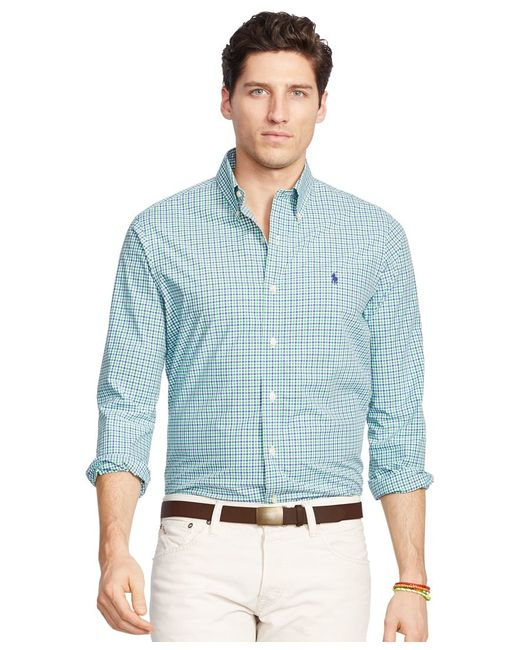 Polo Ralph Lauren | Blue Gingham Cotton Twill Shirt for Men | Lyst