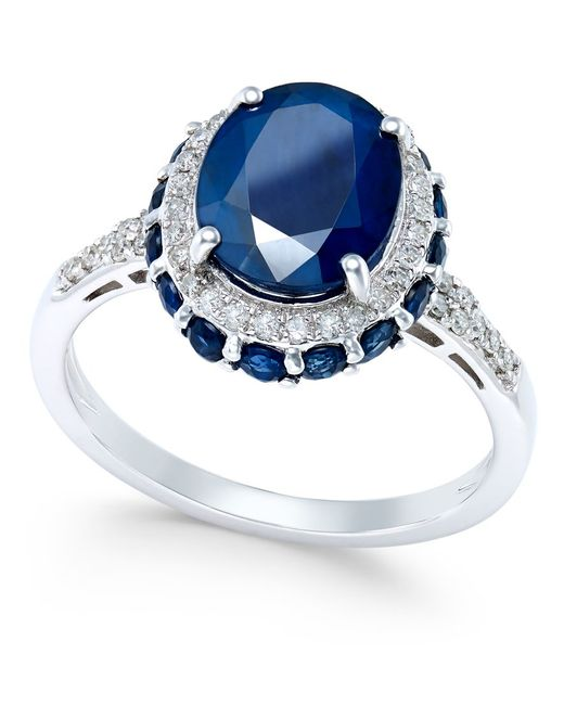 Macy's | Metallic Blue Sapphire (4 Ct. T.w.) And White Sapphire (1/3 Ct. T.w.) Oval Ring In 10k White Gold | Lyst