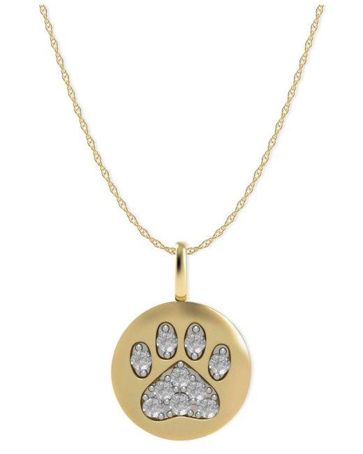Macy's - Metallic 14k Gold Necklace, Diamond Accent Paw Disk Pendant - Lyst