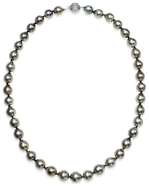 Macy's | Metallic Pearl Necklace, 14k White Gold Round Tahitian Pearl Strand (9-11mm) | Lyst