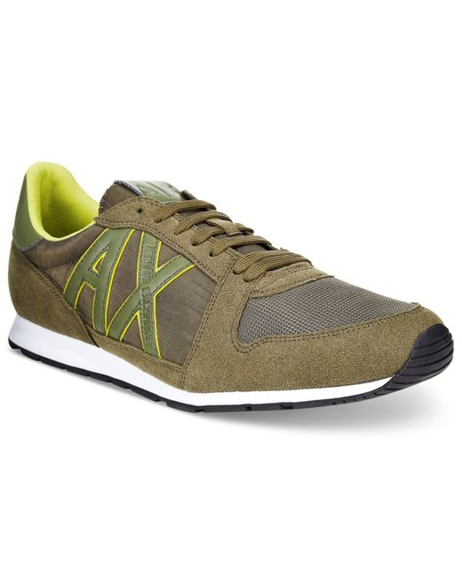 armani exchange s ax jogger sneakers in khaki for