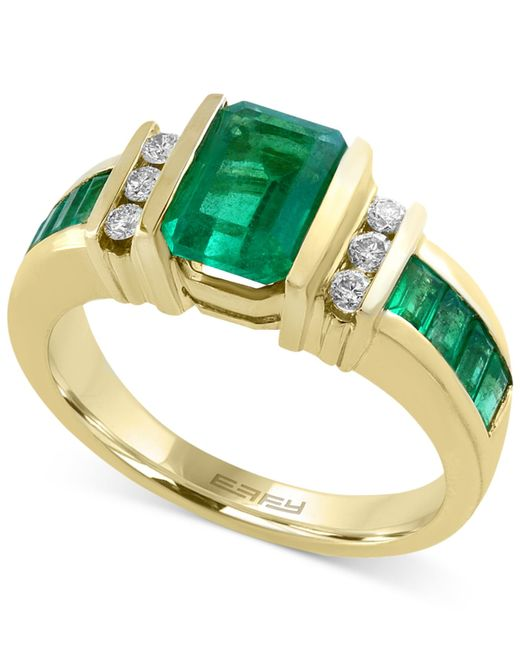 Effy Collection | Green Emerald (2-1/10 Ct. T.w.) And Diamond (1/6 Ct. T.w.) Ring In 14k Gold | Lyst