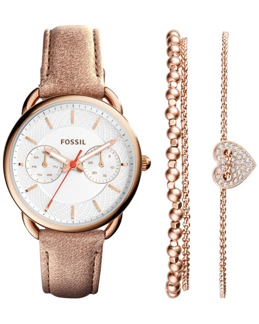 fossil women 39 s tailor blush leather strap watch and. Black Bedroom Furniture Sets. Home Design Ideas