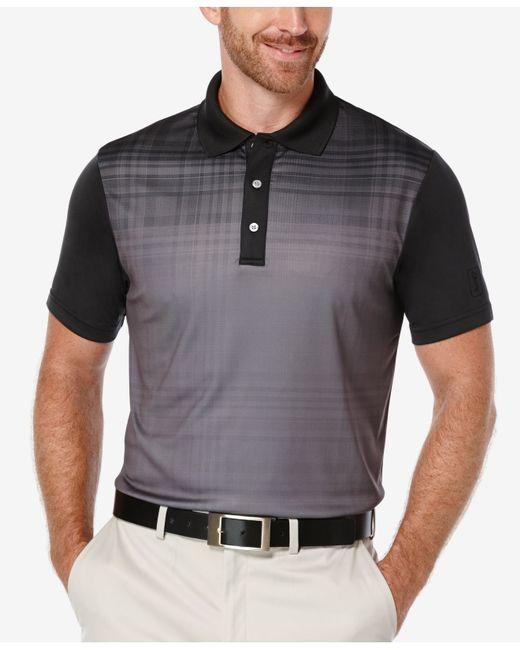 Pga Tour Men 39 S Fading Plaid Colorblocked Polo Shirt In