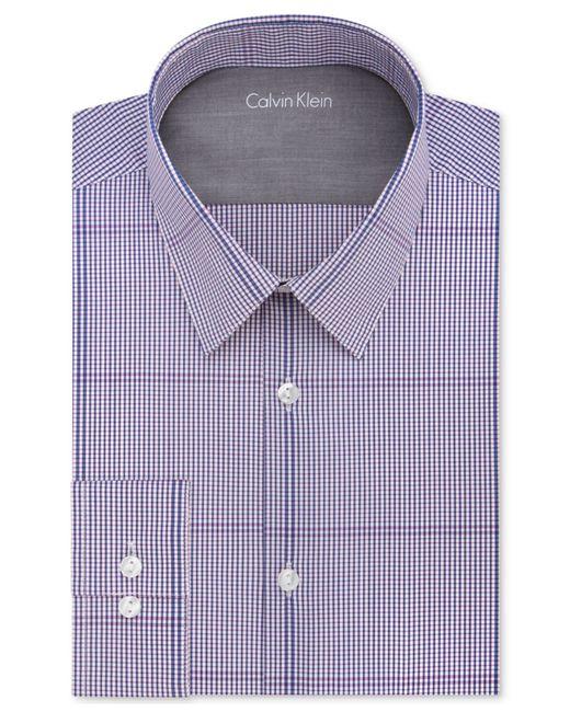 Calvin klein men 39 s x extra slim fit magenta check dress for Calvin klein x fit dress shirt