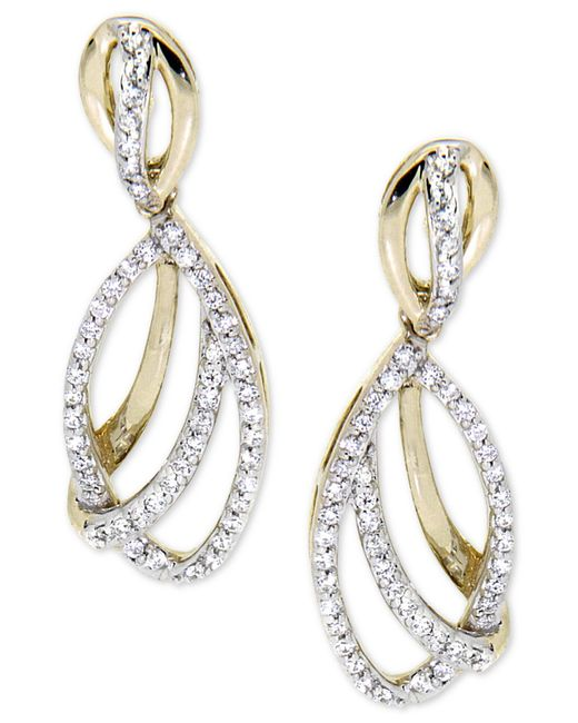 Wrapped in Love | Metallic Diamond Drop Earrings (1/2 Ct. T.w.) In 14k Gold | Lyst
