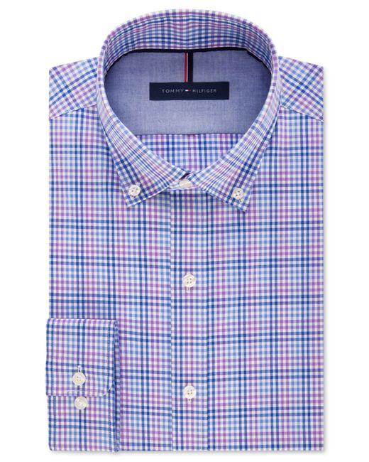 Tommy Hilfiger Men 39 S Slim Fit Non Iron Purple Plaid Dress