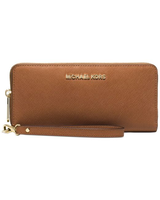 Michael Kors | Brown Jet Set Travel Continental Wallet | Lyst