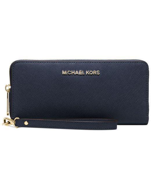 Michael Kors | Blue Michael Jet Set Travel Continental Wallet | Lyst