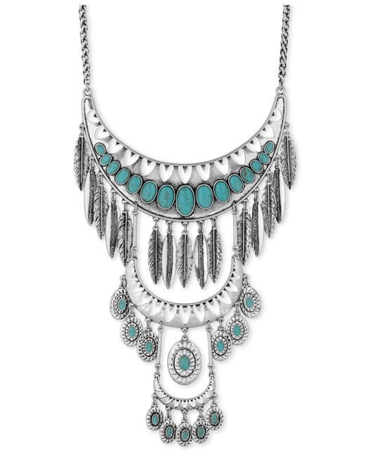 Lucky brand silver tone stone and feather multi level for Macy s lucky brand jewelry
