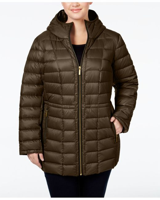 Michael Kors Plus Size Hooded Packable Down Puffer Coat Lyst