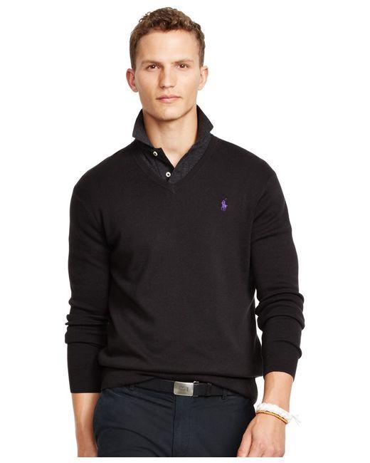 Polo Ralph Lauren | Black Pima V-neck Sweater for Men | Lyst