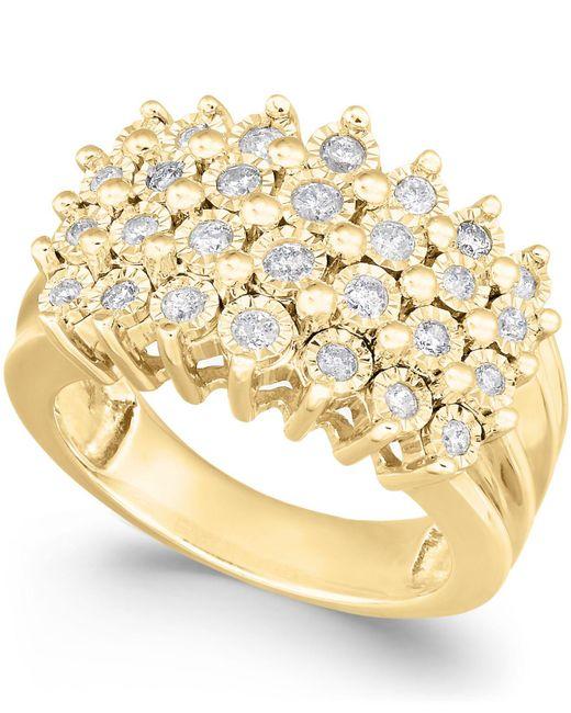 Macy's - Metallic Diamond Multi-row Ring (1/2 Ct. T.w.) In Sterling Silver - Lyst