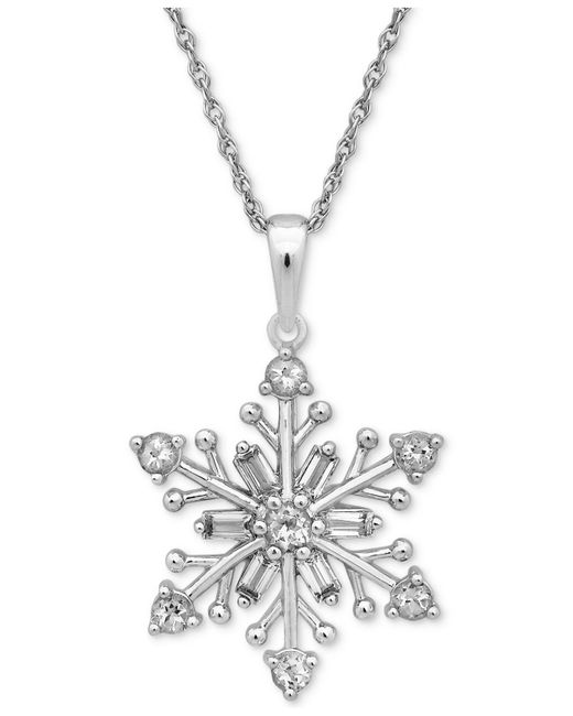 Macy's - Metallic Cubic Zirconia Snowflake Pendant Necklace In Sterling Silver - Lyst