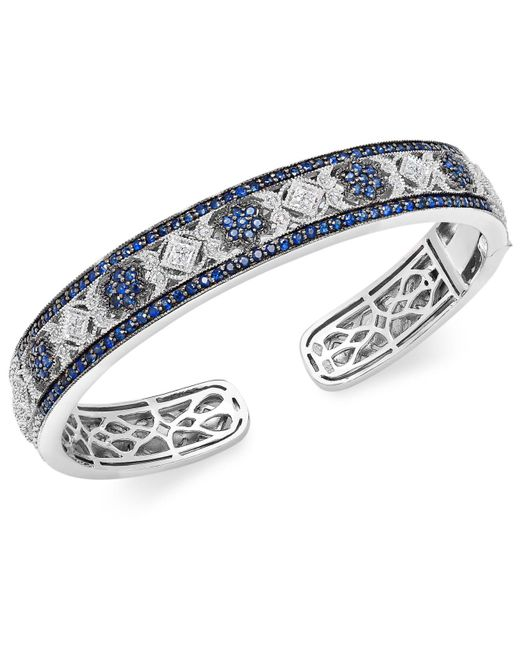 Macy's - Blue Sapphire (2-3/4 Ct. T.w.) And Diamond (1/10 Ct. T.w.) Bangle Bracelet In Sterling Silver - Lyst
