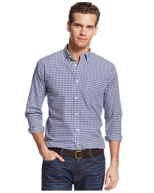 Tommy Hilfiger | Blue Big And Tall Men's Long-sleeve Twain Check Shirt for Men | Lyst