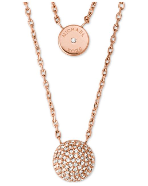 Michael Kors | Metallic Two Layer Double Pendant Necklace | Lyst