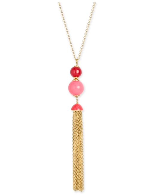 kate spade new york | Metallic That's A Wrap Gold-tone Beaded Tassel Pendant Necklace | Lyst