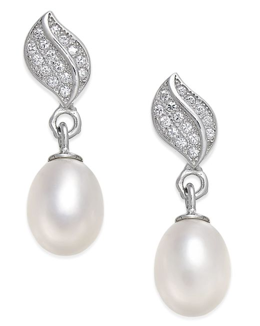 macy s pearl earrings macy s cultured freshwater pearl 7x9mm and cubic 1765