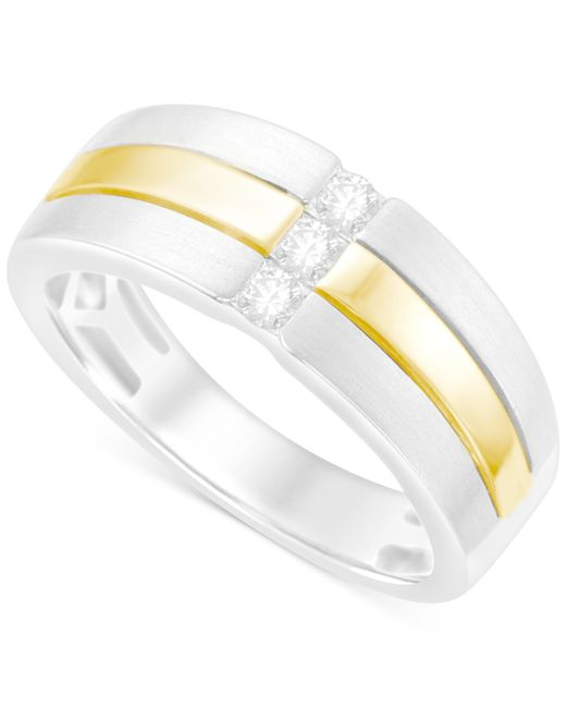 Macy's | Metallic Men's Diamond Two-tone Ring (1/4 Ct. T.w.) In 10k White And Yellow Gold for Men | Lyst