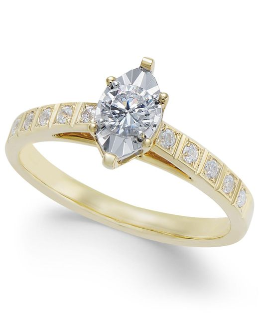 Macy's - Metallic Diamond Miracle-plate Marquise Shape Engagement Ring (3/8 Ct. T.w.) In 14k Gold - Lyst