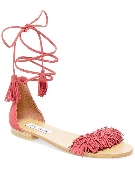Steve Madden Women S Sweetyy Lace Up Flat Sandals In