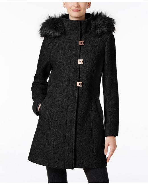 Calvin Klein | Black Faux-fur-trim Wool-blend Walker Coat | Lyst