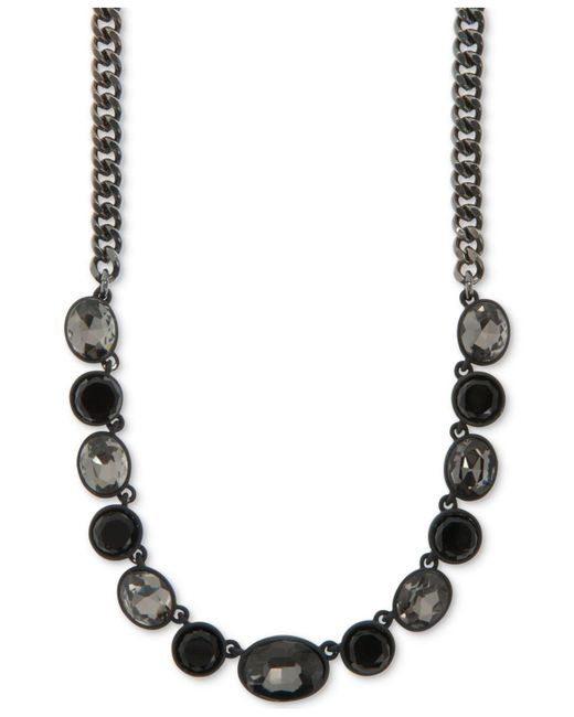 DKNY - Purple Hematite-tone Multi-stone Gray-scale Collar Necklace - Lyst
