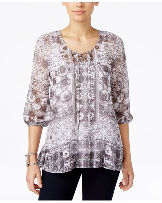 Style & Co. | Purple Printed Peasant Top, Only At Macy's | Lyst
