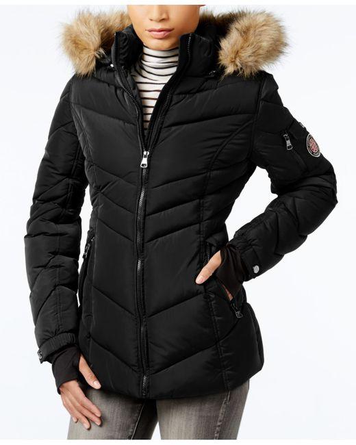 Madden Girl Faux Fur Trim Hooded Chevron Puffer Coat In