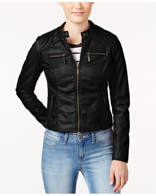 Jou jou Juniors' Zipper-front Faux-leather Moto Jacket in Black | Lyst