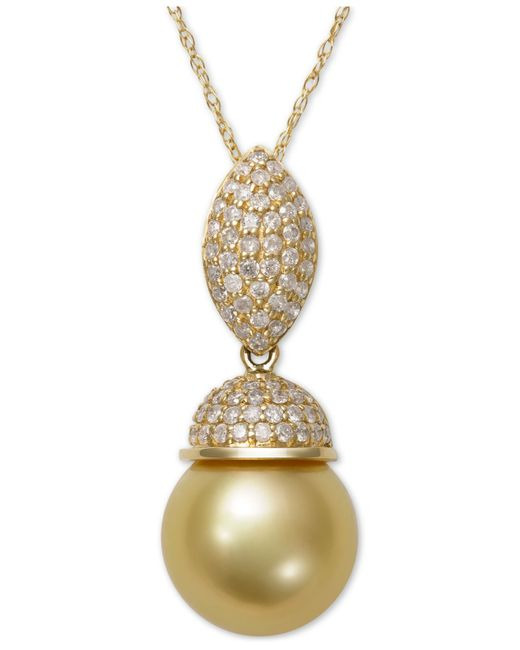 Macy's | Metallic Cultured Golden South Sea Pearl (9mm) And Diamond (3/8 Ct. T.w.) Pendant Necklace In 14k Gold | Lyst