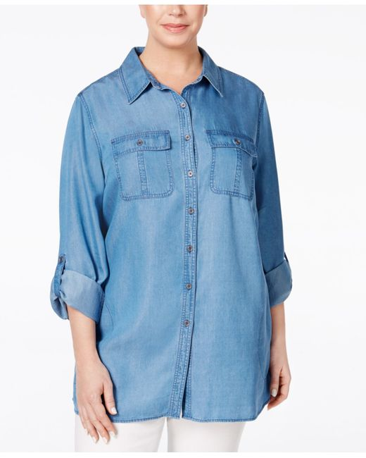Style Co Plus Size Chambray Tunic Shirt In Blue Lyst