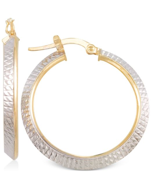 Macy's | Metallic Two-tone Textured Hoop Earrings In 14k Yellow And White Gold | Lyst
