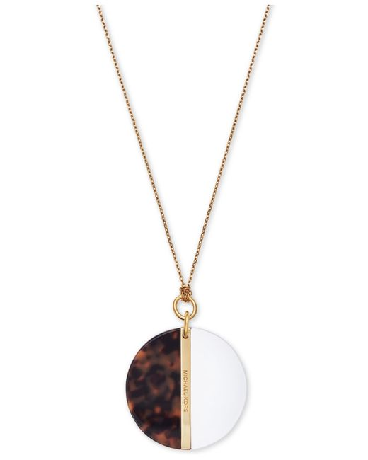 Michael Kors | Metallic Gold-tone Imitation Tortoiseshell And White Stone Split Disc Pendant Necklace | Lyst