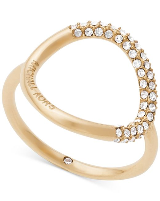 Michael Kors | Metallic Pavé Crystal Open Circle Statement Ring | Lyst
