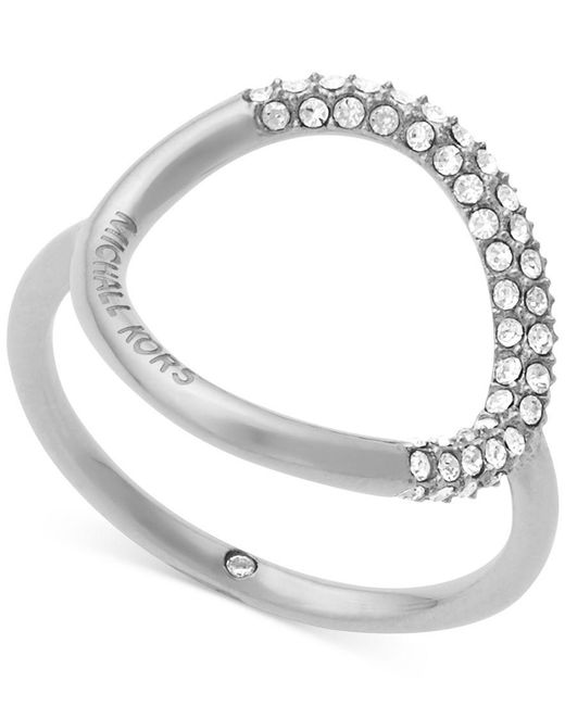 Michael Kors   Metallic Brilliance Silver-toned Pavé Ring   Lyst