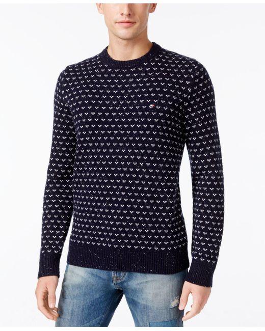 Tommy hilfiger Shawl-collar Fair Isle Cardigan Sweater in Blue for ...